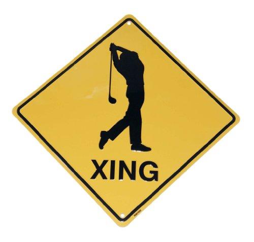 Golfer Golf Crossing Metal Funny