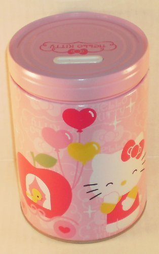 Hello Kitty Carriage & Balloons Round Tin Bank with Easy-Off Lid