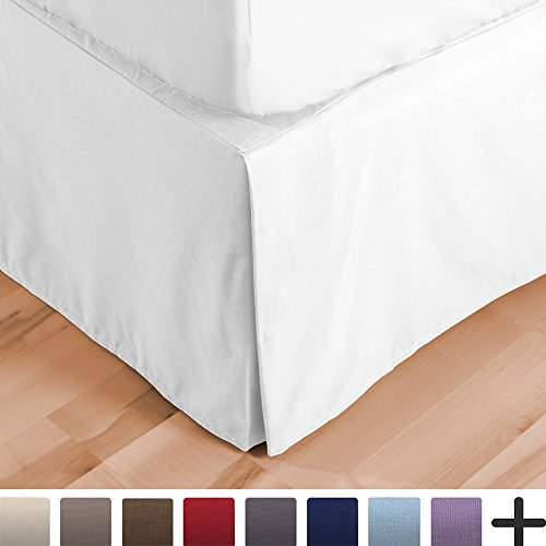 Double Brushed Premium Microfiber, 15-Inch Tailored Drop Pleated Dust Ruffle, 1800 Ultra-Soft, Shrink and Fade Resistant (Cal King, White) ()