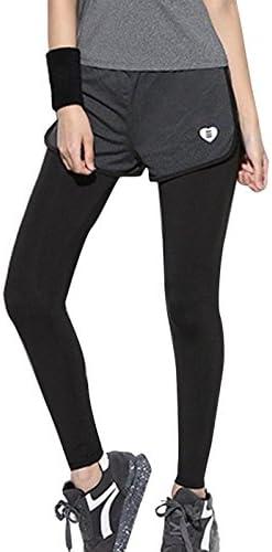 [スポンサー プロダクト][GiGant] ショートパンツ付き 一体型 フィットネスパンツ タイツ スパッツ レギンス スポーツ パンツ ランニングウェア ジム レディース