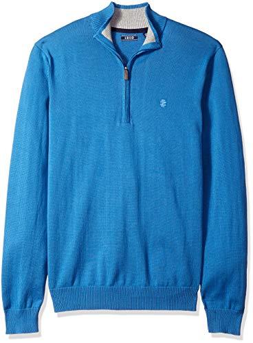IZOD Men's Premium Essentials Quarter Zip Solid 12 Gauge Sweater, Bright Cobalt, Large