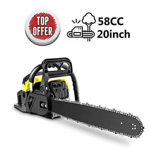 Yiilove 20″ 58CC Gas Powered Chainsaw 2 Stroke Handed Petrol Gasoline Chain Saw for Cutting Wood with Tool Kit (Gray)