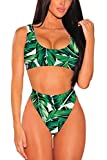 Pink Queen Women's Two Pieces Swimsuit Sports Padded Cheecky Bikini Set Green M