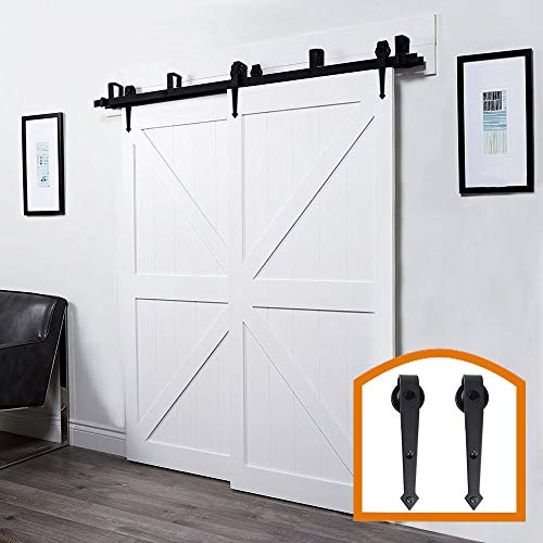 (HomeDeco Hardware New Style 6.6 FT Homedex Bypass Sliding Barn Door Hardware Black Steel Track Wooden Doors Indoor Hanger Kit)