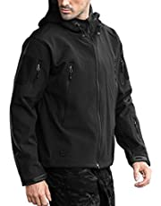 Free soldier Men's Camping Softshell Jacket Water-resistant Military Tactical Hooded Coat