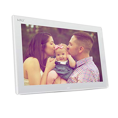 HUS 10.1 Inch Digital Photo Frame with 1280×800 Hi-Res, Multifunctional Digital Picture Frame with Remote Control(White)