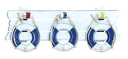 Benzara Attractive Wooden Lifebelt with Functional Hook, Blue by Benzara (Hook Functional)