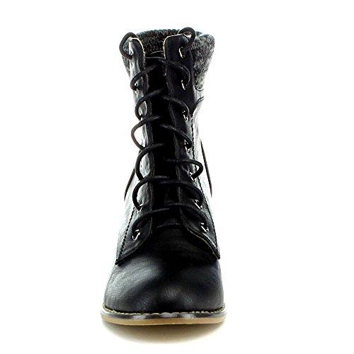 Anna Mel-12 Kvinner Comfy Chunky Hæl Blonder Opp Strikket Genser Ankel Boots, Farge: Sort, Størrelse: 10