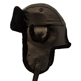 Crown Leather/Shearling Aviator Hat (Medium, Brown)
