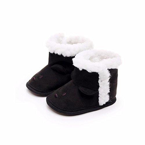 SYY 0-2 Jahre alt Baby Kinder Newborn Nette Anti-Rutsch-Cartoon warme weiche alleinige Schuhe Schwarz