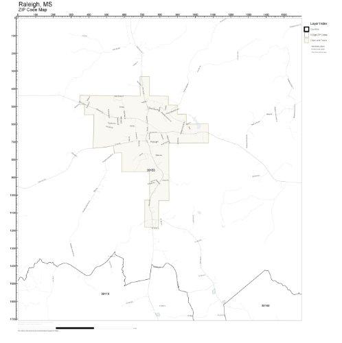 Amazon.com: ZIP Code Wall Map of Raleigh, MS ZIP Code Map Laminated ...