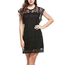 Meaneor Women Sheer Crew Neck Floral Lace Mini Party Cocktail Summer Dress