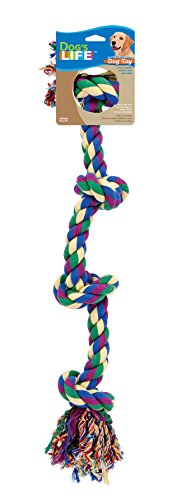 Dog Life 4-Knot Rope Dog Toy, Multi-Color – Large, 29 Inch