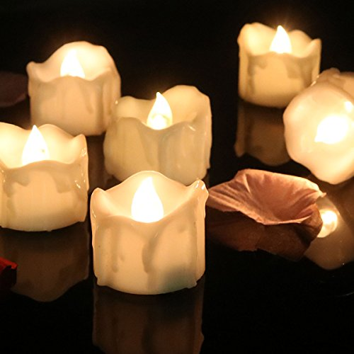 - Cozeyat 24pcs Wax-drip Battery Operated Tea Lights Flameless Candle Flickering LED Candles with Petals for Dinner Table Setting, Centerpiece, Wedding, Anniversary, Birthday Party, Christmas Decor