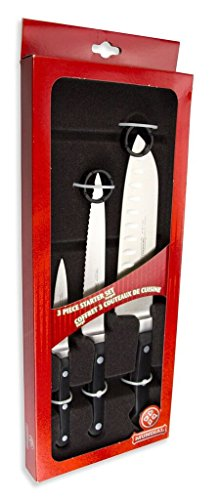 Mundial 5100 Series 3-Piece Knife Starter Set with Hollow Edge Black