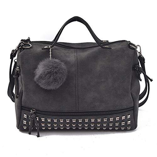 Pahajim 2017 women handbag women bag rivet fashion purse handbags for women (black)