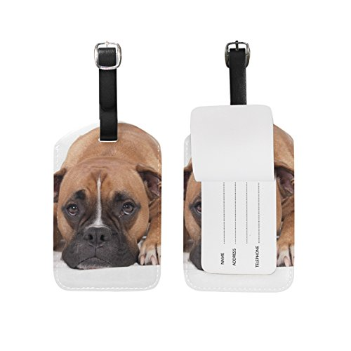 Luggage Tag for Baggage Suitcase Lovely Boxer Dog Leather Travel Bag Address Labels 1 Piece