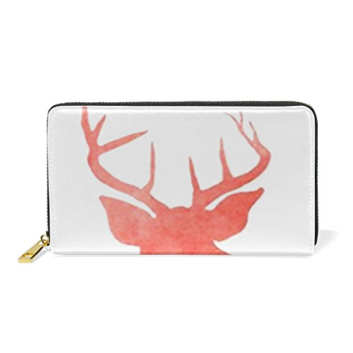 uine Leather Girl Zipper Wallets Deer Clutch Coin Phone (Deer Genuine Leather Lace)