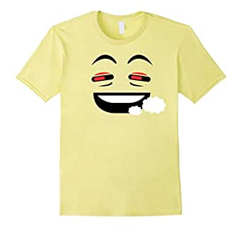 Men's Stoner Face Emoji Emoticon Costume Shirt Halloween 3XL Lemon