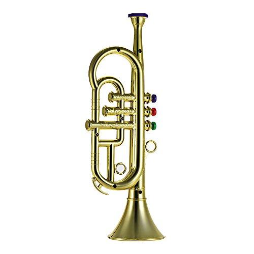 Music Trumpet Instrument (Festnight Kids Trumpet, Music Wind Instrument 3 Keys Trumpet Kids Toys Silver Electroplating)