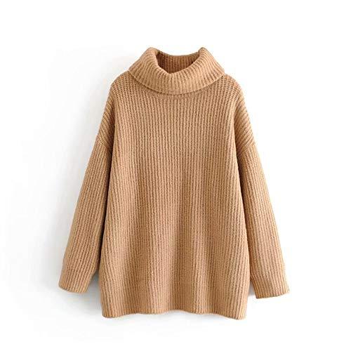 Tfdgh M Grueso Punto Larga Manga Cuello De Jerseys Suelto Cálido Mujer Alto Para Mujer Suéter Tamaño L Gran raqwfCPr