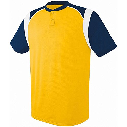- High Five Adult Wildcard 2-Button Jersey,Athletic Gold/Navy/White,Small