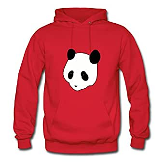 Women Sweatshirts Casual Panda Image X-large With Organic Cotton Red