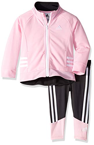 adidas Girls' Toddler Zip Jacket and Pant Set, Running Light Pink, ()