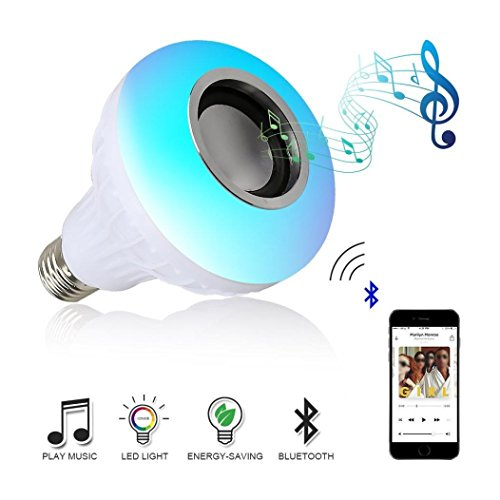 Rambling Bluetooth Music LED Light, E27 12W RGB Built-in Audio Wireless Remote Control Change Color Music Bulb,Smart Music Bluetooth 3.0 Speaker For Home, Stage,Party