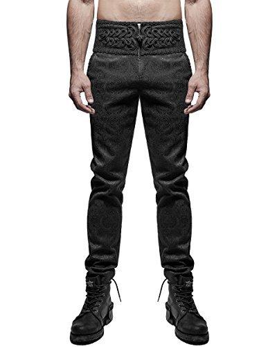Rave Gotico Damascato Nero Punk Pantaloni Vtg Uomo Steampunk Bqdw6v6Ag