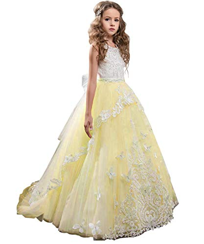Flower Girl Dress Kids Lace Beaded Pageant Ball Gowns (Size 8, B Light Yellow)
