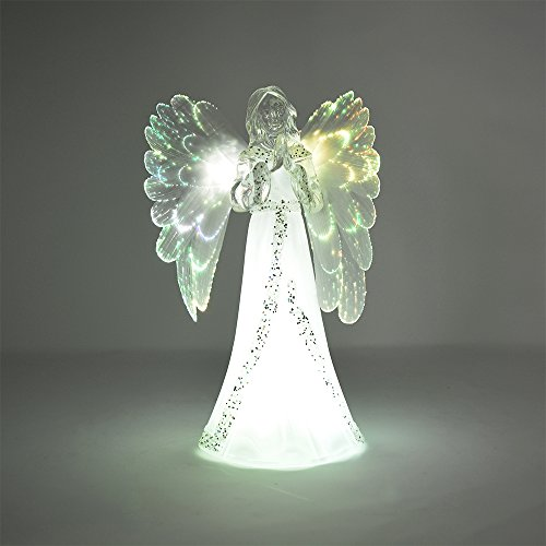 The Nifty Nook Lighted Angel Figurine Frosted - LED Color Changing Praying Angel Statue With Large Color Changing LED Wings (Figurine Praying Angel)