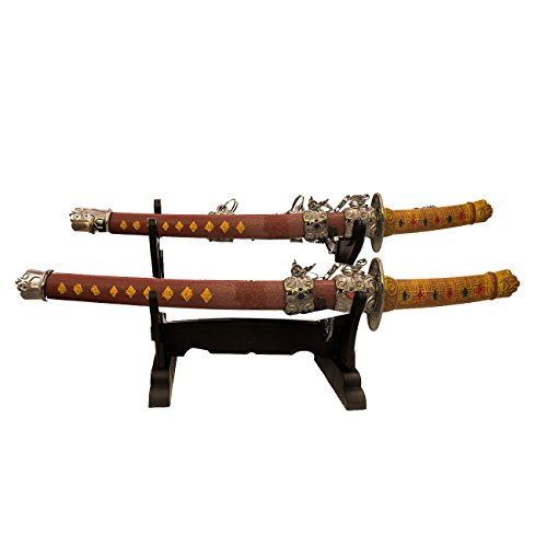 Table Top Mini Twin Japanese Red Samurai Sword Letter Opener 8.5 & 6 Inch w/ Stand