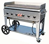 Crown Verity CV-MG-48-NG 56'' Wide Natural Gas Mobile Griddle with 99 000 BTU/H 6 Burners 46'' Cooking Surface Pro Griddle Plate Splash Guard and Removable Grease Tray in Stainle