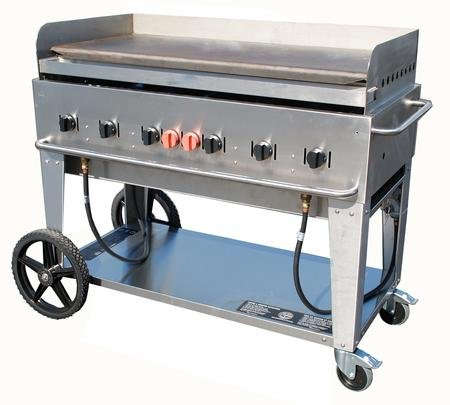 Crown Verity CV-MG-48-NG 56'' Wide Natural Gas Mobile Griddle with 99 000 BTU/H 6 Burners 46'' Cooking Surface Pro Griddle Plate Splash Guard and Removable Grease Tray in Stainle by Crown Verity