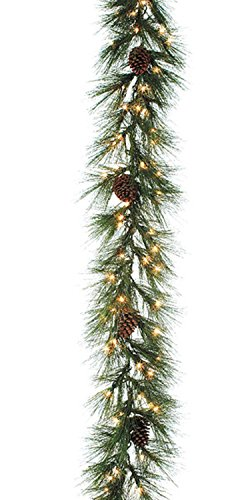 9' Pre-Lit Long Needle Pine Christmas Rope Garland With Pine Cones - Clear Light