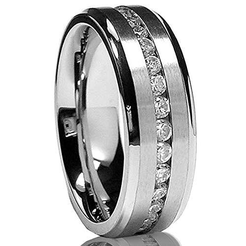Metal Masters Co. 7MM Men's Eternity Titanium Ring Wedding Band with Cubic Zirconia CZ Size 10