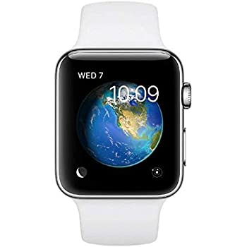 Renewed Apple Watch Series 2, 42mm Stainless Steel Case with White Sport Band