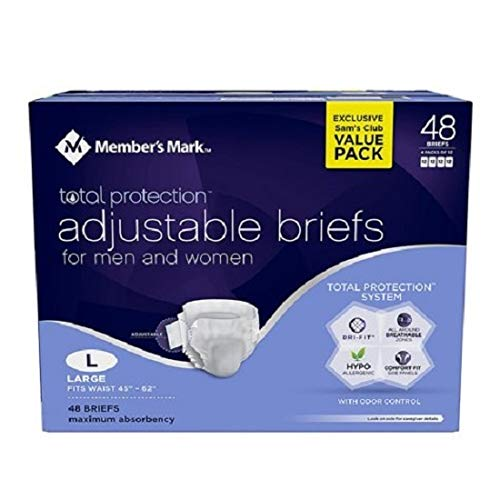 Member's Mark Total Protection Adult Briefs for Men & Women, Large (48 ct.) (pack of 6)