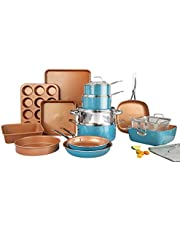 Gotham Steel Cookware + Bakeware Set with Nonstick Durable Ceramic Copper Coating – Includes Skillets, Stock Pots, Deep Square Fry Basket, Cookie Sheet and Baking Pans, 20 Piece, Turquoise,
