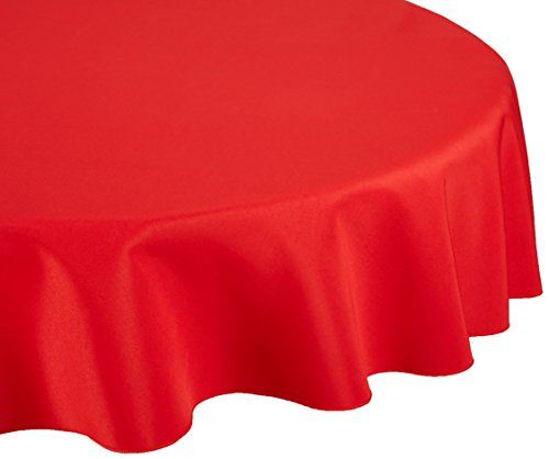 LinenTablecloth 90-Inch Round Polyester Tablecloth Red (Red Tablecloths)