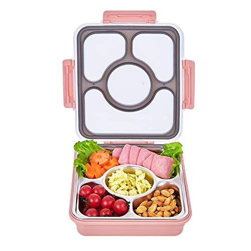 (Leak-Proof Bento Style Lunch Box - Stainless Steel Versatile 4 Compartment Food Containers - On-The-Go Meal and Snack - BPA-Free and Food-Safe Materials, Ideal for Adults &Teenagers(Nordic Pink))
