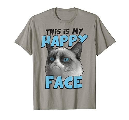 Grumpy Cat This Is My Happy Face Blue Text Graphic T-Shirt