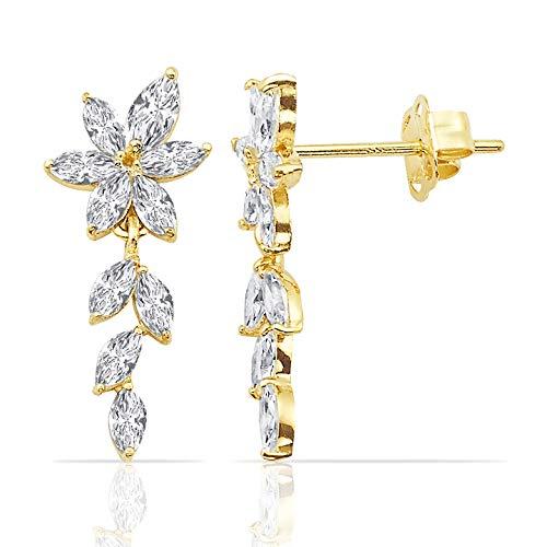 Dainty 14K Yellow Gold CZ Flower Dangling Earrings for Women