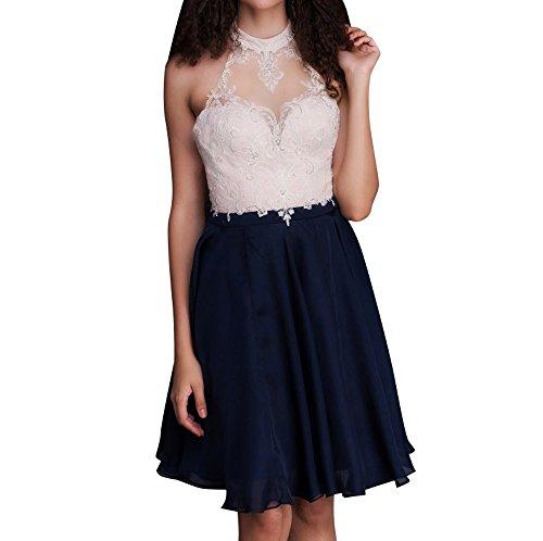 Brautmutterkleider Festlichkleider Blau Abschlussballkleider Blau Cocktailkleider Navy Abendkleider Navy Spitze La mia Braut Kurzes 1w8nT0q
