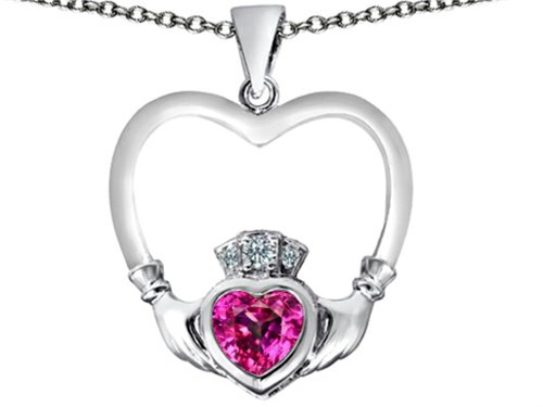 Star K Celtic Claddagh Heart Pendant Necklace with Heart Shape Created Pink Sapphire Sterling Silver ()