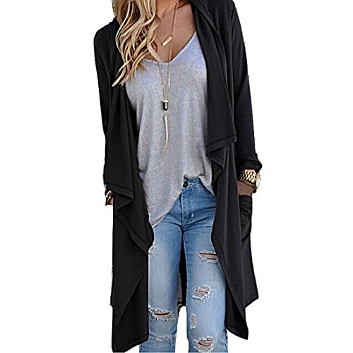 Womens Long Sleeve High Low Hem Open Front Knit Cardigan Sweater (Black,XL) (Sale Today)