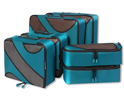 Disney 2 Piece Pajama Bottoms - 6 Set Packing Cubes,3 Various Sizes Travel Luggage Packing Organizers (Teal)