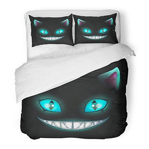 Set Blue Smile Fantasy Scary Smiling Cat Face on Black Cheshire Alice Eyes Mad Decorative Bedding Set 2 Pillow Shams King Size ()