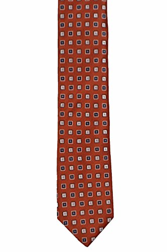 base Necktie with squares and Silk blue Orange Notch white Slim Men's YXwxUt